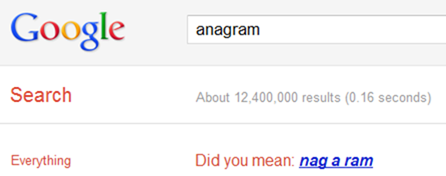 Anagram Google Easter Eggs