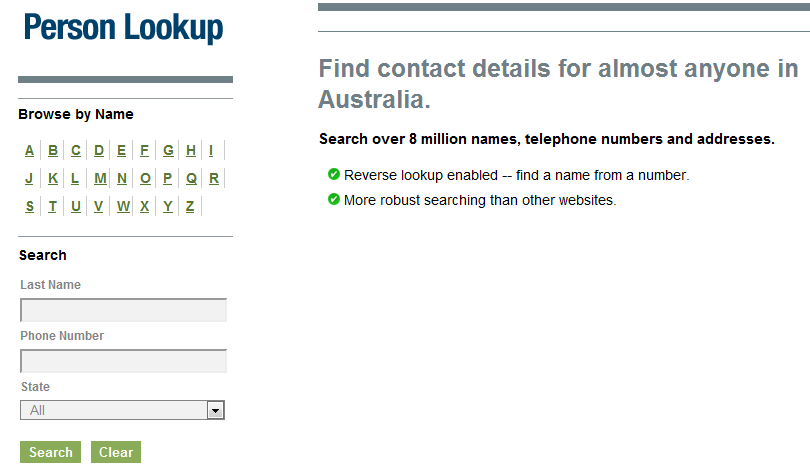 Find a name to a phone number in australia