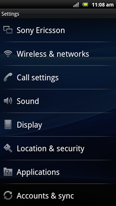 Xperia Arc Settings