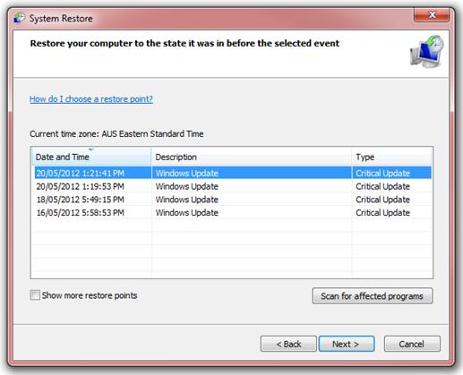 System Restore on Windows 7
