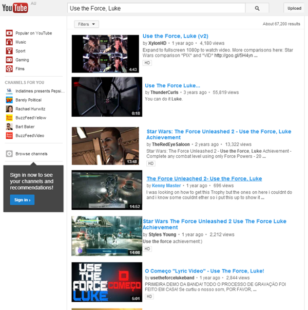 YouTube Easter Eggs Geek Week Use The Force