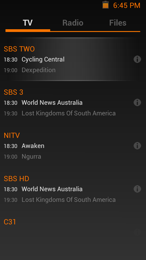 Live TV Mobile Phone EPG Guide