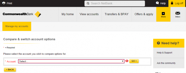 Netbank - Select Account